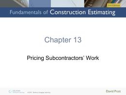 Chapter 13: Pricing Subcontractors` Work