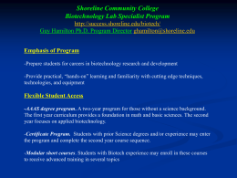 Shoreline Community College Biotechnology Lab Specialist Program