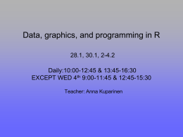 Data, graphics, and programming in R