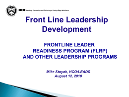 Frontline Leader Readiness Program (Newly Designed) - AIM-IRS
