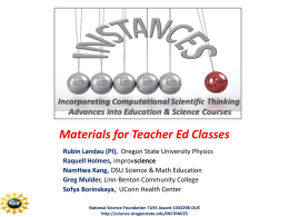 Instances: Incorporating Computational Scientific Thinking