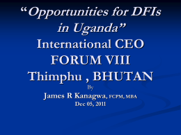 """Opportunities for DFIs in Uganda"" International CEO FORUM VII"