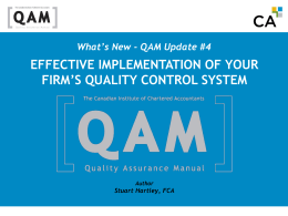 Effective implementation of your firm`s quality control system