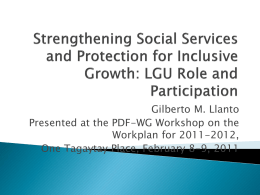 Strengthening Social Services and Protection for Inclusive Growth