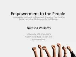 Empowerment to the People - University of St Andrews