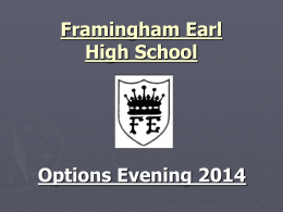 Options Evening Presentation - Framingham Earl High School