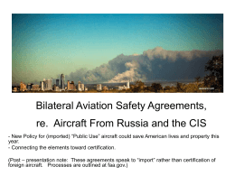 Bilateral Agreements re. Aircraft From Russia and CIS