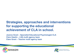 Strategies, approaches and interventions for supporting the