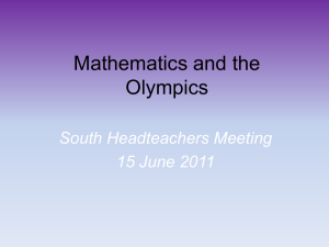 Mathematics and the Olympics - Essex Primary Headteachers