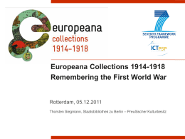 CIP-ICT-PSP-2010 Project Europeana Collections 1914-1918