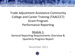 TAACCCT Grant Performance Reporting