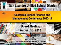 School Finance Mgmt Conference - San Leandro Unified School
