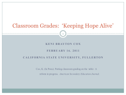 Grades and Motivation - College of Education at California State