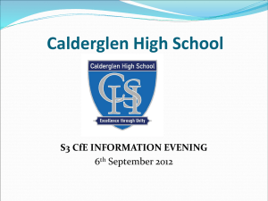 S3 Curriculum for Excellence Information Evening : 6 September 2012