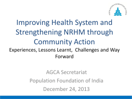 Community Action under NRHM - Community Action for Health
