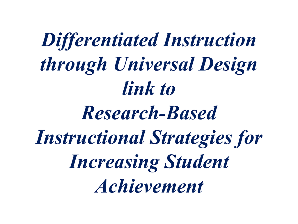 Research Based Teaching Strategies