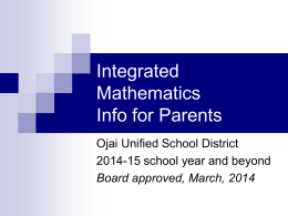Integrated Math Info for Parents