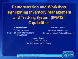 Demonstration and Workshop Highlighting Inventory Management