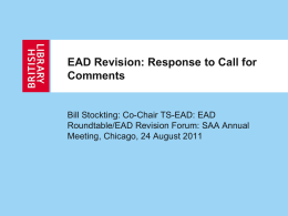 EAD Revision: Response to Call for Comments