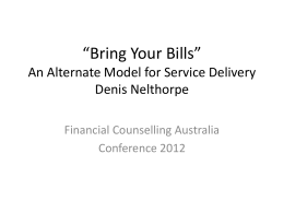 Bring Your Bills - Financial Counselling Australia
