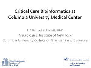 Critical Care Bioinformatics at Columbia University Medical Center