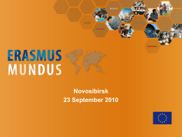 Erasmus Mundus project - Novosibirsk State Technical University