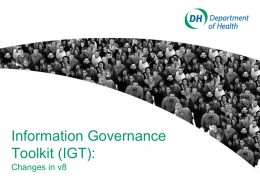 Information Governance Toolkit v8 Functionality