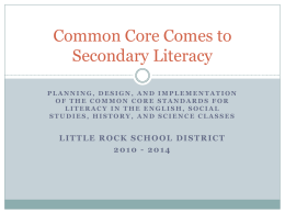 Common Core Comes to Secondary Literacy