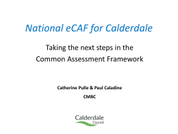 National eCAF for Calderdale