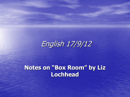 Box Room Notes - Elgin Academy