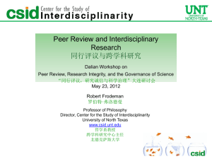 Slide 1 - Peer Review, Research Integrity, and the Governance of