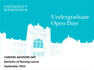 CAREERS ADVISORS DAY Bachelor of Nursing course September