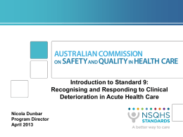 Standard 9 - Australian Commission on Safety and Quality in Health