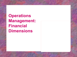 Operations Management Financial Dimensions