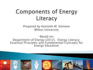 Components of Energy Literacy according to the DOE