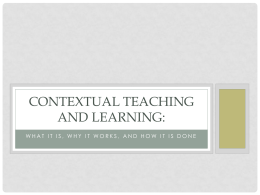 Contextual Teaching and Learning: - NC-NET