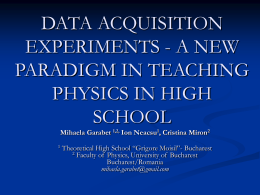 DATA ACQUISITION EXPERIMENTS - A NEW PARADIGM
