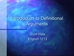 Introduction to Definitional Arguments