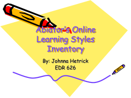 Abiator`s Online Learning Styles Inventory