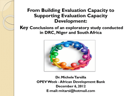 Presentation - From Building Evaluation Capacity to Supporting