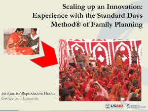 Scaling-up a Family Planning Method