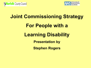 Joint Commissioning Strategy for People with a