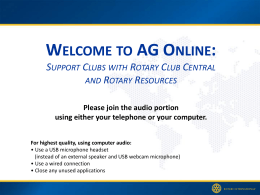 AG ONLINE - Rotary District 6360