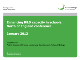 Enhancing R&D capacity in schools: North of England conference