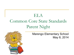CCSS ELA Parent Night - Marengo Elementary