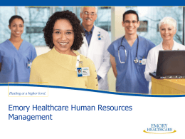 Emory Healthcare Human Resources Organizational Chart