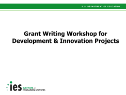 Grant Writing Presentation for Development and Innovation Projects