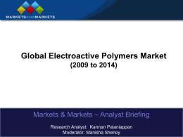 Global Electroactive Polymers Market (2009 to 2014)