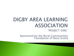 digby area learning association - Rural Communities Foundation of
