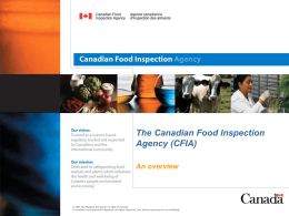 The Canadian Food Inspection Agency (CFIA) – An Overview